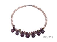 natural 7-8mm pink freshwater pearl with amethyst and crystal necklace