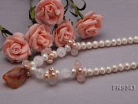 natural 9-10mm white freshwater pearl with rose quartz and agate necklace