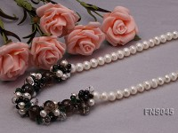 natural 8-9mm white flat freshwater pearl with crystal and agate necklace