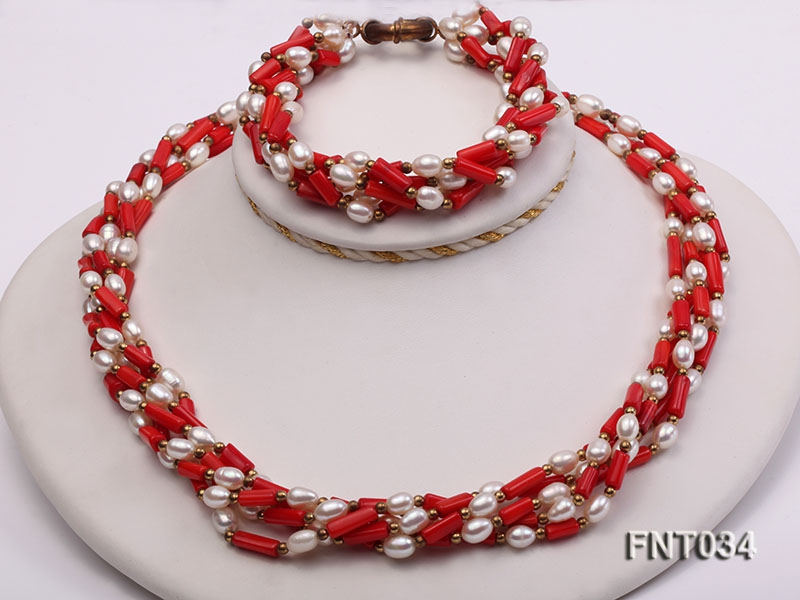 White Freshwater Pearl & Red Coral Pillars Necklace and Bracelet Set
