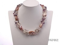 8-9mm White Freshwater Pearl, White and Purple Crystal Beads and Baroque Seashell Pieces Necklace