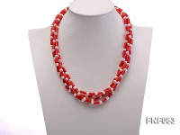 Four-Strand 6mm White Round Freshwater Pearl and Red Coral Pillars Necklace