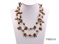 2 strands colorful freshwater pearl and smoky crystal necklace