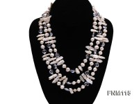 3 strands white freshwater pearl and bule crystal necklace