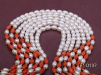 5x7mm white oval freshwater pearl and red oval coral multi-strand necklace
