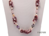 6-7mm purple round freshwater pearl with garnet and rose quartz opera nacklace