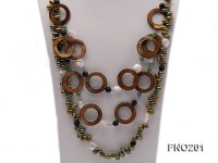 Breen Freshwater Pearl, Brown Seashell Circles, Button Pearls, Black Agate and Green Jade Necklace