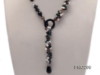 10mm colorful chips crystal and black agate necklace