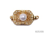 12X23mm Golden Gilded Clasp Inlaid with White Pearl