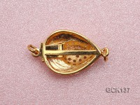 14X25mm Heart-shaped Golden Gilded Clasp Inlaid with Shiny Zircons