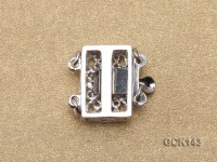 13.5X14.5mm White Gilded Clasp Inlaid with Shiny Zircons