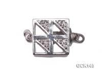 12.5X19mm White Gilded Clasp Inlaid with Shiny Zircons