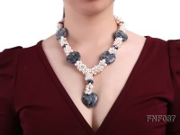 6-7mm Freshwater Pearl and Black Picasso Stone Necklace