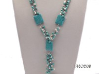 9-10mm white round freshwater pearls and turquoise with smooth surface and crystal necklace