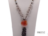 4-5mm white grey and black freshwater pearl with agate opera necklace