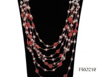 6-7mm natural white round freshwater pearl with pink coral opera necklace