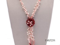 5mm white freshwater pearl with natural red agate and coral necklace