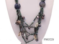 4-5mm black flat freshwater pearl with shell necklace