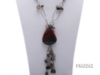 12mm black baroque freshwater pearl with black agate necklace