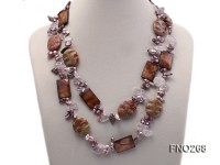 11*16mm grey freshwater pearl with irregular crystal and gemstone necklace