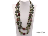 9*16mm green tooth freshwater pearl with smoky quartz and gemstone opera necklace
