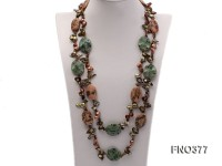 9*16mm brown tooth freshwater pearl with tourmaline chips and gemstone opera necklace
