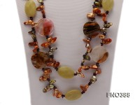9-16mm champagne tooth freshwater pearl with smoky quartz and gemstone opera necklace