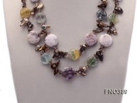 14*27mm brown tooth freshwater pearl with natural smoky quartz and gemstone opera necklace