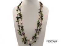 9-16mm green tooth freshwater pearl with natural smoky quartz and tourmline chips opera necklace
