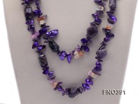 9*11mm purple tooth-shaped freshwater pearl with amethyst crystal necklace