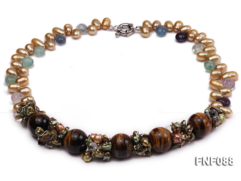 10x11mm Champagne Freshwater Pearl Necklace with Tiger-eye Beads and Crystal Beads