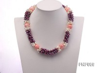 5x8mm Purple and White Freshwater Pearl Necklace with Pink Coral Beads Necklace