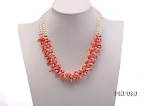 Five-strand 4mm White Freshwater Pearl and Coral Necklace