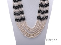 7 strand white freshwater pearl and agate necklace