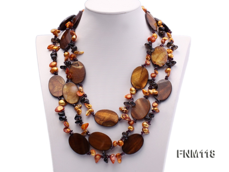 3 strand coffee freshwater pearl and tiger-eye stone necklace