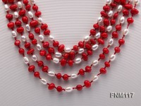 5 Strand White Freshwater Pearl and Red Coral Necklace