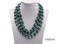 5 strand white freshwater pearl and turquoise necklace