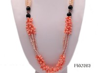 5mm natural pink and lavneder freshwater pearl with black agate and pink coral opera necklace
