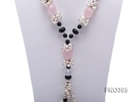 5*8mm natural white rice freshwater pearl with black agate and crystal necklace