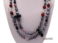 12mm black baroque freshwater pearl with black agate and crystal opera necklace