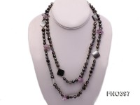 8-10mm brown flat freshwater pearl with black shell and amethyst opera necklace