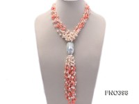 6-8mm natural white round freshwater pearl with pink coral opera necklace