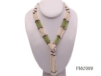 3-4mm natural white rice freshwater pearl with natural olivine and garnet opera necklace