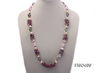6-7mm mauve round freshwater pearl with round fluorite and crystal opera necklace