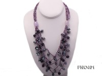 4mm Black Flat Freshwater Pearl with Amethyst Necklace