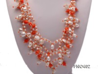 4mm natural white round freshwater pearl with pink coral opera necklace