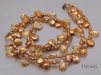 Two-strand 10x14mm Yellow Flat Fresh-water pearl, Drop-shaped Crystal and Gilded Beads Necklace