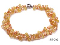Two-strand 6x7mm Light-Pink Freshwater Pearl and Yellow Crystal Necklace