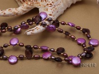 Two-strand Button Pearl, Rice-shaped Pearl, Flat Drop-shaped Quartz Beads and Gilded Beads Necklace