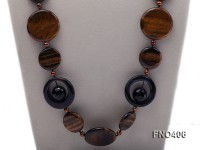 6-7mm coffee round freshwater pearl with tiger eyes stone and agate opera necklace